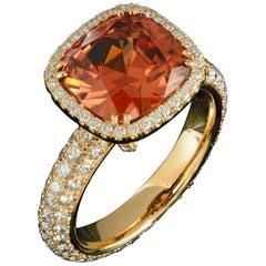 18 Karat Rose Gold Malayan Zircon 4.97 Carat and Diamond Entourage Cocktail Ring