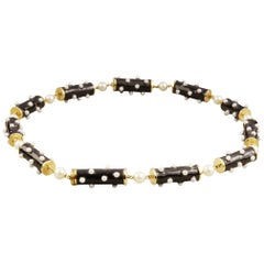 Yellow Gold Black Enamel and Pearl Necklace