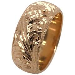 14 Karat Rose Gold Hand Engraved Russian Band Ring