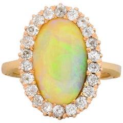 Lovely Retro 0.65 Carat Diamond Opal 14 Karat Gold Ring