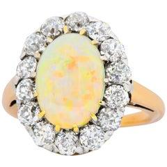 Edwardian 1.50 Carat Diamond Opal Platinum 14 Karat Gold Ring