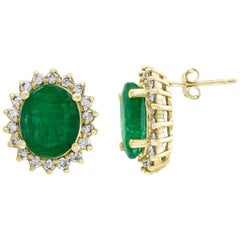 8 Carat Oval Emerald Diamond Stud Earrings 14 Karat Gold
