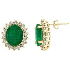 8 Carat Oval Emerald Diamond Stud Earrings 14 Karat Gold
