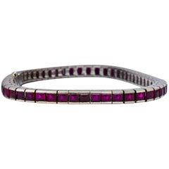 Vibrant 10.60 Carat Ruby Platinum Line Bracelet
