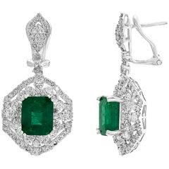 6 Carat Emerald Cut Emerald Diamond Hanging Earrings 18 Karat Gold