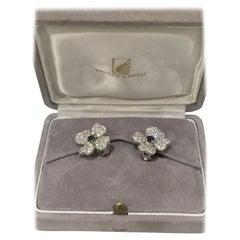 Van Cleef & Arpels Cosmos Gold Sapphire Diamond Flower Earrings