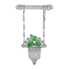 Raymond Yard Art Deco Diamond Emerald and Platinum Watch/Brooch
