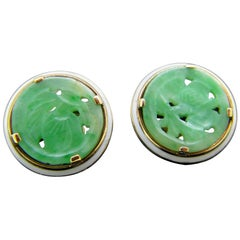 Art Deco Style Cartier New York Carved Jade Enamel Yellow Gold Earrings