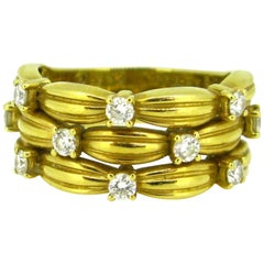 Tiffany & Co. Signature Serie Basket Weaves Diamonds Yellow Gold Ring