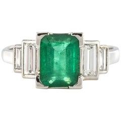 1930s French Platinum Art Deco Emerald Diamond Ring