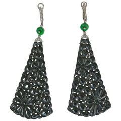 Frederic Sage Black Jade Earrings