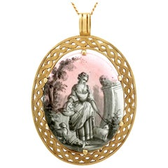 1880s Enamel and Mother of Pearl Yellow Gold Pendant