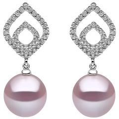 Yoko London Freshwater Pearl and Diamond Earrings set in 18 Karat White Gold