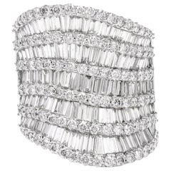 Round Baguette Diamond White Gold Wide Cocktail Ring