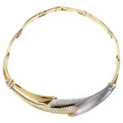 1990s Pave Diamond Gold Italian Choker Necklace