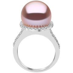 Yoko London Freshwater Pearl and Diamond Ring, Set in 18 Karat White Gold