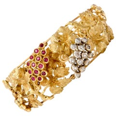 Vintage Art Nouveau Grape Diamond Ruby Gold Bracelet