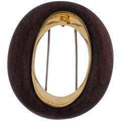 1970s Van Cleef & Arpels Wood Gold Brooch Clip