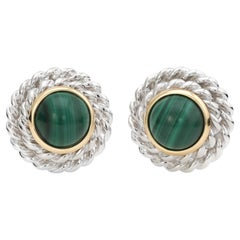 Vintage Tiffany & Co Malachite Round Clip Earrings Sterling Silver 18k Gold Fine