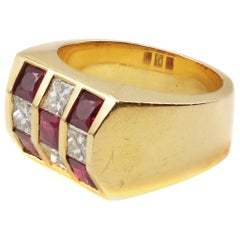 Ruby Diamond Gold Checker Board Ring