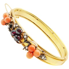 Antique French Coral Garnet Seed Pearl Gold Bangle Bracelet