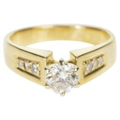 Round Brilliant Diamond Cathedral Engagement Ring 14 Karat Yellow Gold