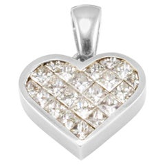 2.11 Carat Total Weight Diamond Invisible-Set Heart Pendant