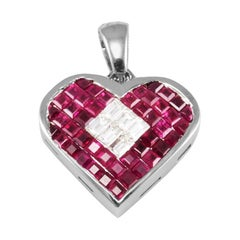 4.50 Carat Total Weight Ruby and Diamond Heart Pendant