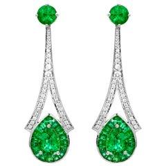 IGL Certified 1.28 Carat Pear Emerald 3.76 Carats Total Emerald Drop Earrings