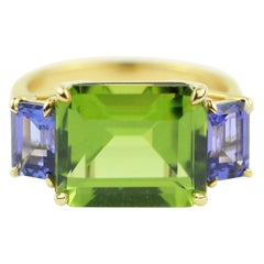 Julius Cohen Peridot and Tanzanite Ring