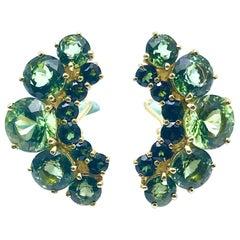 16.44 Carat Green Tourmaline and 18 Karat Yellow Gold Crescent Clip Earrings
