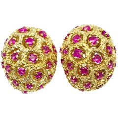 Tiffany & Co. Round Ruby and 18 Karat Yellow Gold Domed Clip Earrings
