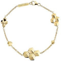 18 Karat Yellow Gold Brillante Station Bracelet