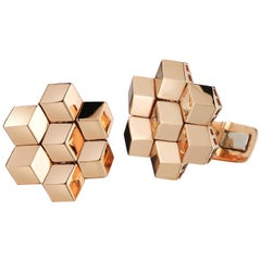 18 Karat Rose Gold Signature Brillante Cufflink Set