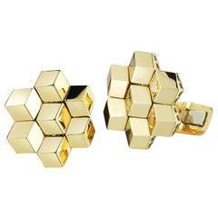 18 Karat Yellow Gold Signature Brillante Cufflink Set