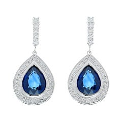 6.00 Carat Total Pear Shaped Blue Sapphire and Diamond Drop Earrings