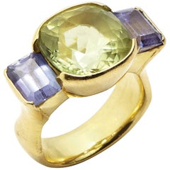 Cushion Cut Yellow Beryl and Emerald Cut Tanzanite 18 Karat Gold Ring