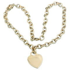 Tiffany & Co. 18 Yellow Karat Gold Heart Tag and Circle Link Chain Necklace