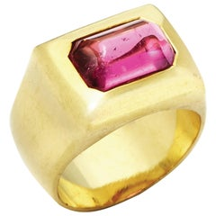 2.87 Carat Cabochon Cut Pink Tourmaline Set in 18 Karat Gold Greek Signet Ring