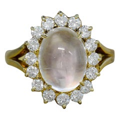 Dome Moonstone Sugarloaf Cabochon 7 Carat Diamond Cocktail Ring 18 Karat Gold