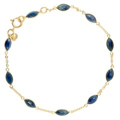 Blue Sapphire Gold Bracelet 4.83 Carat 18 Karat