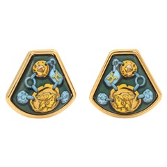 Vintage Hermes Enamel Clip Earrings Female Gladiator Green Yellow Gold Tone