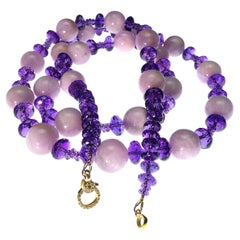 Glittering Amethyst Rondels and  Round Opaque Kunzite Yard Long Necklace