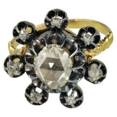 Antique Diamond Flower Ring, circa 1800