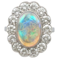 Antique 1930s 2.19 carat Opal and 2.36 carat Diamond Platinum Cluster Ring