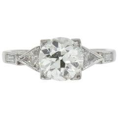 Retro 2.08 Carat Diamond Platinum Engagement Ring GIA