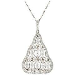 Antique Edwardian 1.40 Carat Diamond Platinum Pendant with Chain