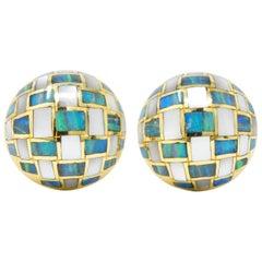 Tiffany & Co. 1970s Mother Of Pearl Opal 18 Karat Gold Ear-Clips Earrings