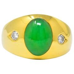 C.D.L 1950s Jadeite Jade Diamond 18 Karat Gold Unisex Ring GIA