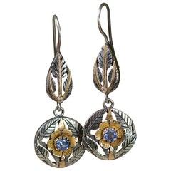Emma Chapman Blue Sapphire Diamond 18 Karat Gold Drop Earrings